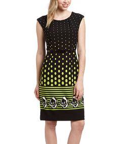 Green & Black Dot Cap-Sleeve Dress #zulily $22.99