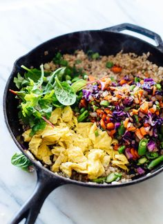 Colorful, delicious, extra vegetable fried rice! This is a beautiful and easy dinner recipe. cookieandkate.com