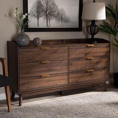 Brown Dresser, Walnut Dresser, 6 Drawer Dresser, Dresser As Nightstand, Double Dresser, Dark Wood Dresser, Dresser Tv Stand, Bedroom Furniture Stores, Bedroom Dressers