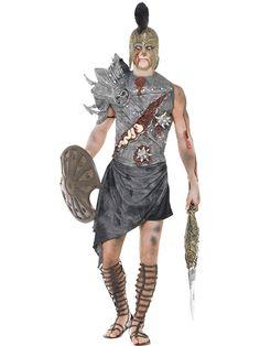 Strój zombie - gladiatora, który zginął na arenie, ale nie chce w to uwierzyć. Ciekawy kostium na Halloween.