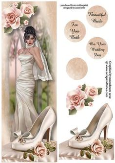 Large DL Beautiful Brunette Bride on Craftsuprint designed by Anne Lever - This lovely large dl sized topper features a beautiful brunette bride, with icing roses and a wedding shoe on a silk cushion. It has decoupage, three greetings to choose from and a blank greetings circle. The greetings are beautiful bride, to you both and on your wedding day. - Now available for download!