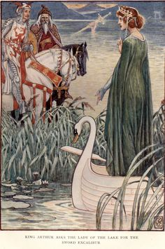 King Arthur Asks the Lady of the Lake for the Sword Excalibur, Art by Walter Crane, 1911