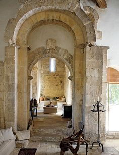 Gorgeous stone entry-living room