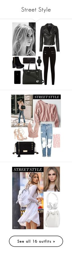 """""""Street Style"""" by sophie01234 ❤ liked on Polyvore featuring Michael Kors, MICHAEL Michael Kors, IRO, Newgate, Paige Denim, American Eagle Outfitters, Topshop, Steve Madden, Miss Selfridge and River Island"""