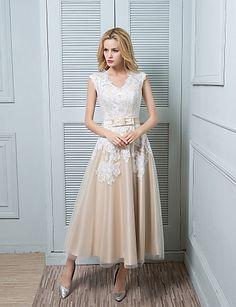 Lanting Bride A-line Wedding Dress-Ankle-length V-neck Lace / Satin / Tulle 2016 - $104.49