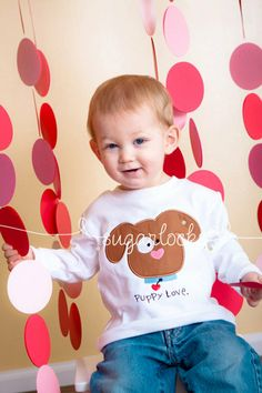 Puppy Love Valentine Boy Personalized Shirt