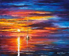 Original seascape  Sky Glows  original sea oil by AfremovArtStudio