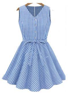 Vogue Sleeveless V Neck Woman A Line Dress
