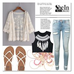 """""""Lace Cardigan - SheIn Contest"""" by little2amsterdam ❤ liked on Polyvore featuring Off-White, WithChic, Billabong, lace, Sheinside, cardigan, shein and packforcoachella"""