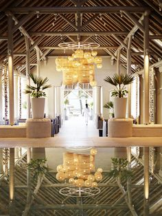 The lobby, designed by Kelly Hoppen, who has breathed new life into the resort with her fresh take on traditional Mauritian hospitality. http://www.luxresorts.com/en/hotel-mauritius/luxbellemare