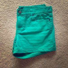 J Crew Hipslung Mint Denim Cutoff Shorts- Size 10 These cute cutoffs are perfect for summertime! Like new. J. Crew Jeans