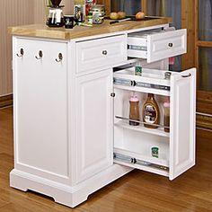 White Kitchen Cart With Black Granite Insert