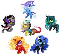 #1062326 - antagonist, artist:hoofbeatdriven, chibi, discord, king sombra, nightmare moon, nightmare star, queen chrysalis, safe, trixie - Derpibooru - My Little Pony: Friendship is Magic Imageboard