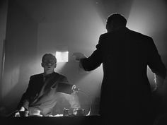 """Cinematography in the film """"Citizen Kane"""" love the silhouette of the man who's back is facing the camera with the light coming around his body Lauren Bacall, Cary Grant, Gerard Philipe, Shot Film, Comedy Scenes, Movie Shots, Orson Welles, Great Films, Cultura Pop"""