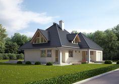 LK&124 Projekt domu parterowego z poddaszem użytkowym oraz garażem jednostanowiskowym w bryle budynku. Na 170 m2 mieszczą się: przestronna kuchnia z jadalnią, pokój dzienny, sypialnia, WC, kotłownia z pralnią (na parterze) oraz 3 sypialnie, garderoba, gabinet łazienka i oddzielne WC (na poddaszu). http://lk-projekt.pl/lkand124-produkt-74.html