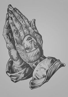 Tattooed praying hands, my next tattoo forsure Gangster Tattoos, Chicano Art Tattoos, Chicano Drawings, Kunst Tattoos, Body Art Tattoos, Sleeve Tattoos, Chicano Tattoos Gangsters, Cute Hand Tattoos, Tattoo Design Drawings