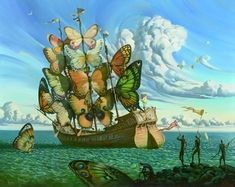 """Fine Art, Departure of the Winged Ship, Here, traditional celebrations and marches begin with """"the dance of the butterfly."""" Butterflies also..."""