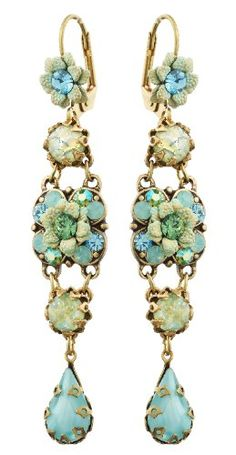 Amazon.com: Vintage Inspired Michal Negrin Marvelous Dangle Earrings Ornate with Hand Painted Flowers, Light Blue and Green Swarovski Crystals and Tear Drop Accent: Michal Negrin: Jewelry