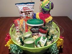 Cinco De Mayo Gift Basket -Margarita Mix Margarita Glasses Lime Keeper Chips Salsa Hot Tamales Candies Citronella Candles and a real Pinata Fundraiser Baskets, Teacher Gift Baskets, Food Gift Baskets, Raffle Baskets, Margarita Gift Baskets, Tracher Gifts, Margarita Mix, Margarita Glasses, Theme Baskets