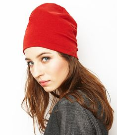 beanie hat/ red/ organic cotton by SISSorganic on Etsy