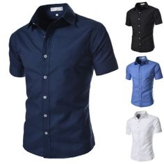 Men's Slim Fit Basic Short Sleeved Shirts Dressy Casual Button-Front Tops ALBS01 #unbranded #ButtonFront