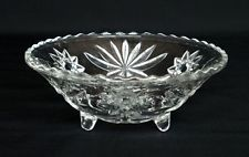 VTG ANCHOR HOCKING EARLY AMERICAN PRESCUT GLASS BON BON DISH BOWL. Found one just like the one my mom had.  Prescut was inexpensive to buy in the 60s and 70s and is inexpensive to collect now, but surprisingly pretty.
