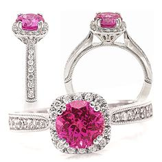 18k lab-grown 6.5mm round pink sapphire engagement ring with natural diamond halo