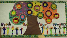 """Checkout this great post on Bulletin Board Ideas! ( Love the """"reach for your dreams"""" bb. Kids could write what they dream of becoming one day to go on the circles)"""