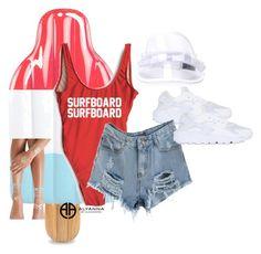 """surfboard surfboard"" by alexannaloro on Polyvore featuring NIKE, Bernstock Speirs, Flash Tattoos and ALYANNACLOTHING"