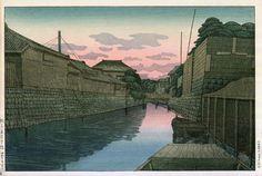 Near the Minato Bridge, Choshi  by Ishiwata Koitsu, 1932  (published by Watanabe Shozaburo)