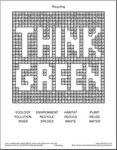 Earth Day Crossword Puzzle, Environmental Science, Earth