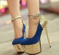 1369767ec Resultado de imagen para sandalias para fiestas de noche christian louboutin  Gold High Heels, Blue