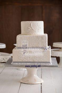 Lace + Grey= stunning!   #WeddingCake #fredericksPastries