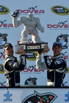 Jimmie Johnson with crew chief Chad Knaus at Dover International Speedway