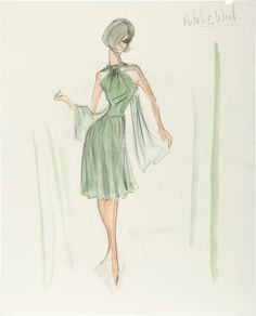 Edith Heads Costume Sketch of Natalie Wood from Love With the Proper Stranger.