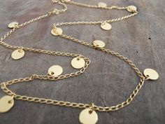 Gold Coin Necklace. Layering delicate charm by annikabella on Etsy. So cute