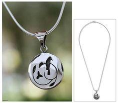 Modern Sterling Silver Bird Pendant Necklace Mexico - Hopeful Nightingale | NOVICA