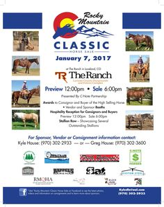 Photos and catalog descriptions are coming into Rocky Mountain Classic Horse Sale - here's a sneak peak at some of the outstanding horses who will be sold on January 7th at The Ranch Events Complex in Loveland, CO!  The sale will also be broadcast and internet bidding accepted if you can't make it in person. However you can get there or view, plan on it!