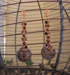 Shaggy chain maille penny earrings by 5DogsDesigns on Etsy