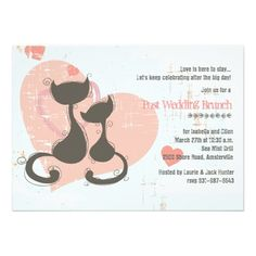 Cute Sweetheart Cats Invitation for a post wedding brunch!