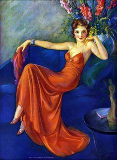 1930's by Jules Erbit. Red evening dress, slinky