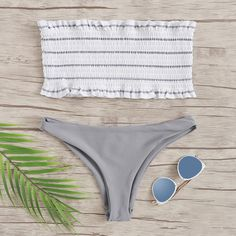 c83eeacf4a884 To find out about the Random Striped Frill Trim Shirred Bandeau Bikini Set  at SHEIN, part of our latest Bikinis ready to shop online today!