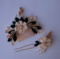 Black and ivory Kanzashi Japanese inspired hair accessories set Alternative wedding