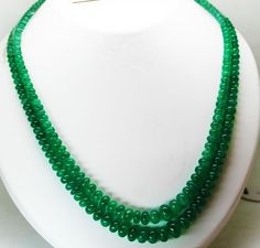 269 Cts / 2 Lines Fine Natural Colombian Emerald Beads Necklace #RareGemIN
