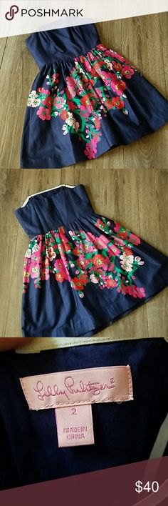 """Lilly Pulitzer Strapless Dress Size 2 Excellent condition. Corset top, strapless.  24"""" long at armpit. 14"""" across waistline. Dresses Strapless"""