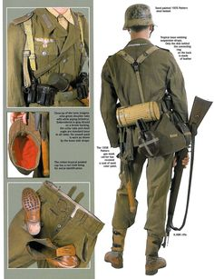 """The individual equipment of a soldier of the Deutsches Afrikakorps, DAK. Military Gear, Military Photos, Military Equipment, Ww2 Uniforms, German Uniforms, Military Uniforms, German Soldiers Ww2, German Army, Ww2 History"