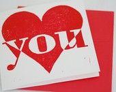 printster--I Love You card,  handmade Valentine Day card, woodcut print