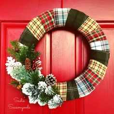 Repurpose and Upcycle Thrift Store flannel shirts into a cozy plaid wreath for winter Christmas holiday door decor by Sadie Seasongoods / www.sadieseasongoods.com