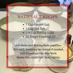 DIY Bath Salts with Essential Oils – Soulful Sister Aromatherapy Diy Bath Salts With Essential Oils, Essential Oils For Add, Doterra Essential Oils, Essential Oil Blends, Diy Aromatherapy Bath Salts, Aromatherapy Products, Essential Oil Combinations, Bath Salts Recipe, Bath Recipes
