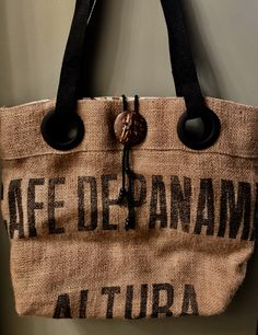 Panama Bouquet Coffee Tote Bag Handmade Custom Burlap Totebag Thequeenbean Millscoffee